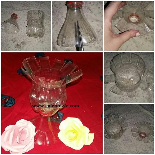 Pet Şişe ile Vazo Yapımı Resimli Anlatım