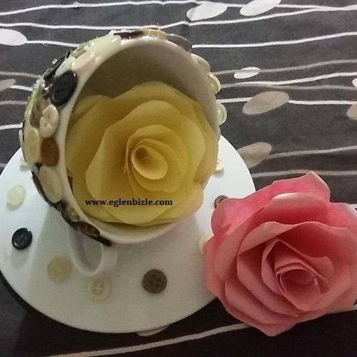 Düğme ile Porselen Fincan Kaplaması Yapımı