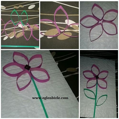 Tuvalet Kağıdı Rulosundan Çiçek Yapımı Resimli Anlatım