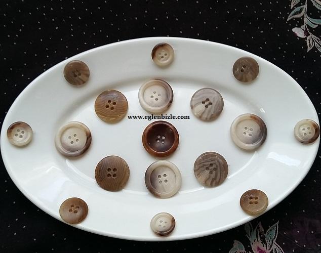 Düğme ile Porselen Tabak Süslemesi