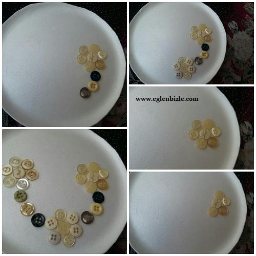 Köpük Tabak İçine Düğme ile Çiçek Yapımı Resimli Anlatım
