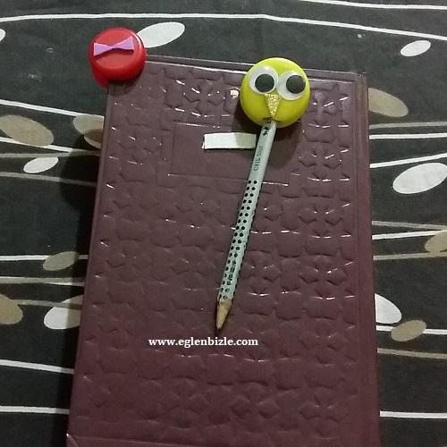 Pet Şişe Kapağı ile Kitap Ayracı ve Kalem Süsü Yapımı-1