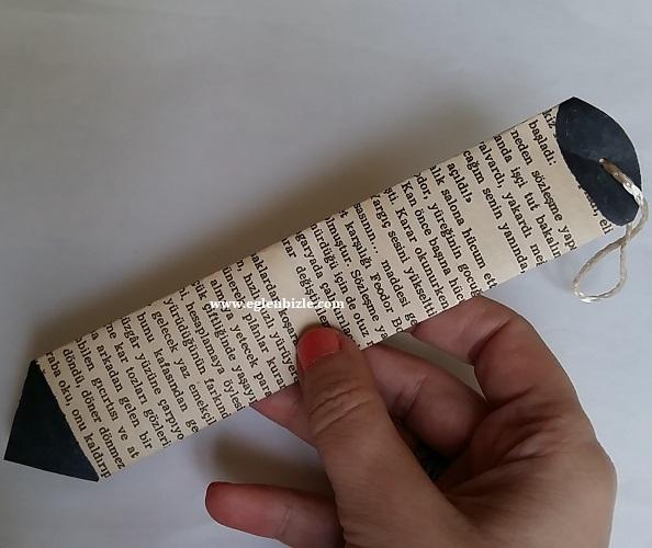 Gazete Kağıdından Kalem Kitap Ayracı Yapımı-1