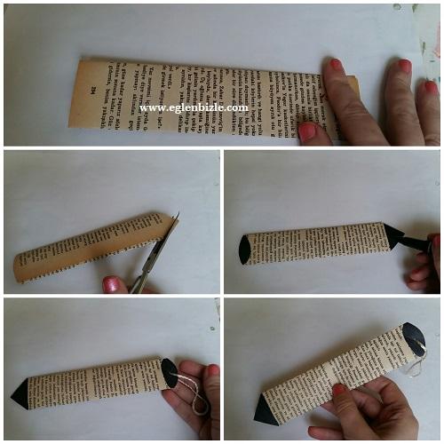 Gazete Kağıdından Kalem Kitap Ayracı Yapımı Resimli Anlatım
