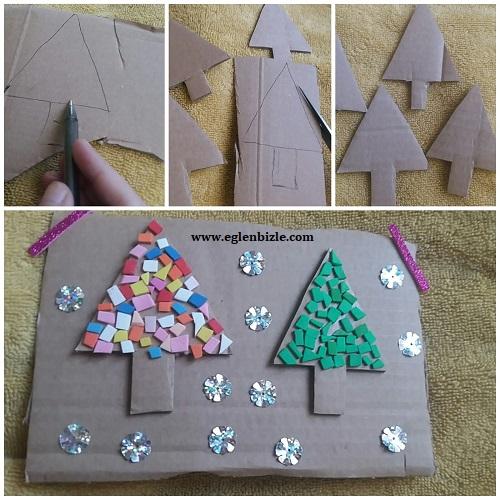 Karton ile Çam Ağacı Yapımı Resimli Anlatım