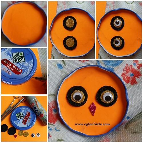 Kavanoz Kapağı ile Baykuş Yapımı Resimli Anlatım