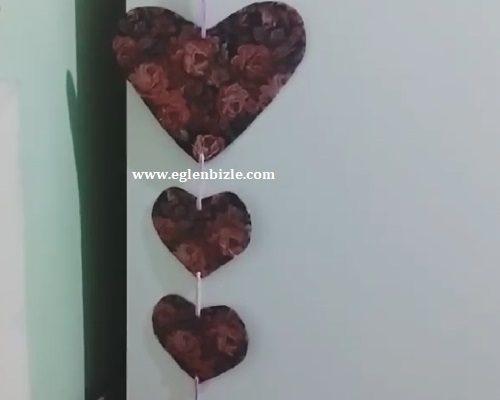 Karton ve Poşet ile Kalpli Duvar Süsü Yapımı