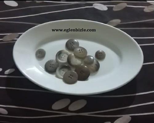 Düğme ile Porselen Tabak Nasıl Süslenir