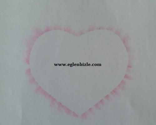 Pastel Boya Baskısı ile Kalp Yapımı