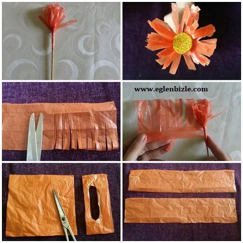 Poşet ile Çiçek Yapımı Resimli Anlatım