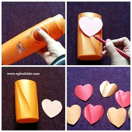 Şampuan Kutusu ile Dekoratif Kalp Yapımı Resimli Anlatım
