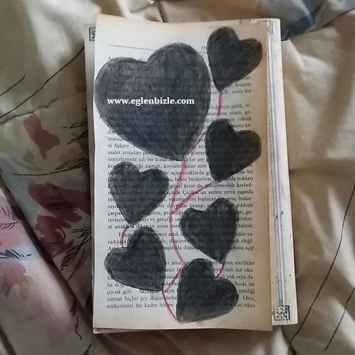 Gazete Kağıdına Kalpli Boyama Yapımı-1