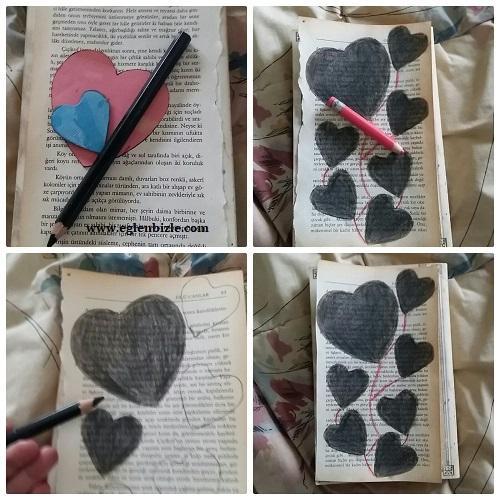 Gazete Kağıdına Kalpli Boyama Yapımı Resimli Anlatım