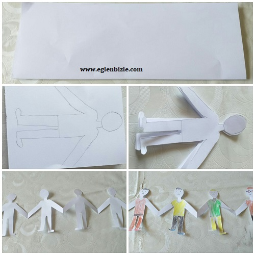 Kağıttan El Ele Tutuşan Çocuk Yapımı Resimli Anlatım