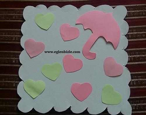 Renkli Kağıtlarla Kalpli Şemsiye Yapımı-1