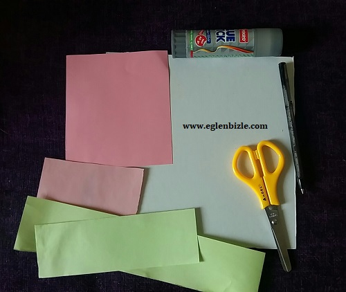 Renkli Kağıtlarla Kalpli Şemsiye Yapımı Malzemeler