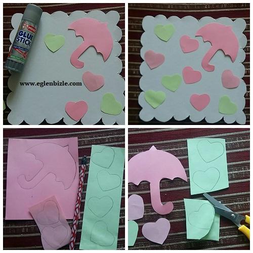 Renkli Kağıtlarla Kalpli Şemsiye Yapımı Resimli Anlatım