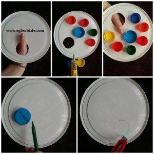 Plastik Kapaklarla Resim Paleti Yapımı Resimli Anlatım
