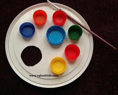 Plastik Kapaklarla Resim Paleti Nasıl Yapılır