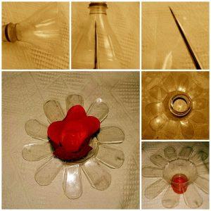 Pet Şişeden Çiçekli Dekoratif Süs Yapımı Resimli Anlatım
