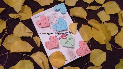 Kağıttan Kalpli Kitap Ayracı