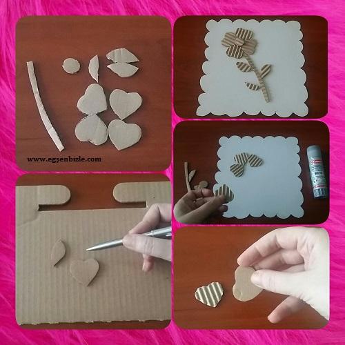 Karton Kutudan Çiçek Yapımı Resimli Anlatım