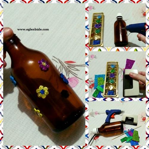 Eva ve Şurup Şişesi ile Vazo Yapımı Resimli Anlatım