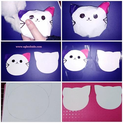 Kağıttan Kedi Squishy Yapımı Resimli Anlatım