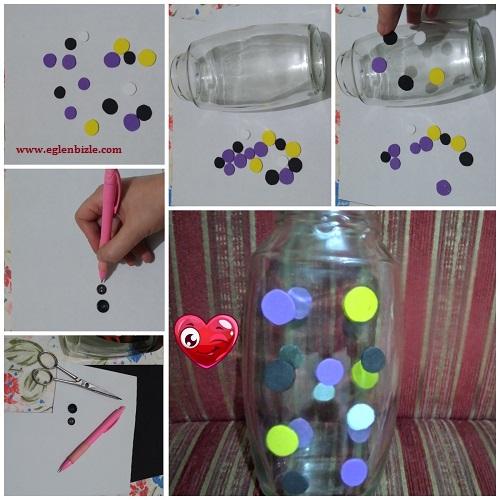Kavanozdan Puantiyeli Vazo Yapımı Resimli Anlatım