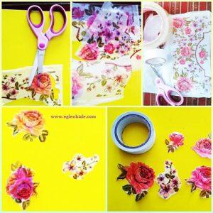 Poşet ile Çiçekli Sticker Yapımı Resimli Anlatım