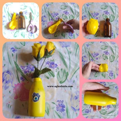 Balon ve Şurup Şişesi ile Vazo Yapımı Resimli Anlatım