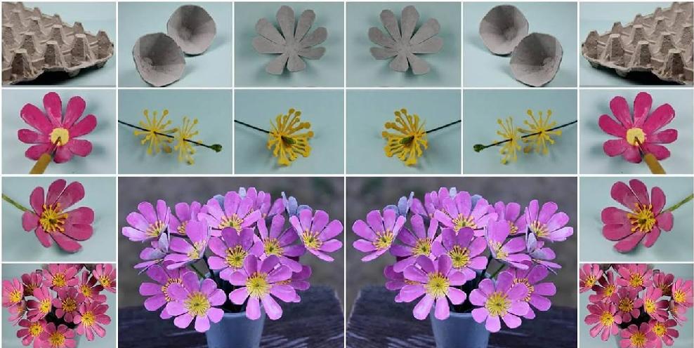 Yumurta Kolisinden çiçek Yapımı Eğlen Bizle