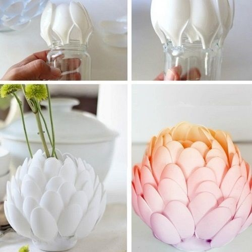 Plastik Kaşıklardan Vazo Yapımı