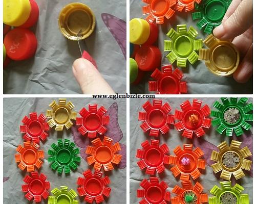 Pet Şişe Kapağı ile Kolay Dekoratif Süs Yapımı