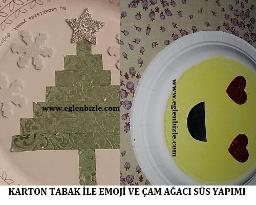 Karton Tabak ile Emoji ve Çam Ağacı Süs Yapımı