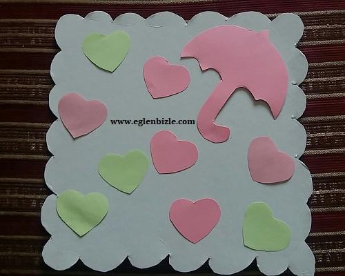 Renkli Kağıtlarla Kalpli Şemsiye Yapımı