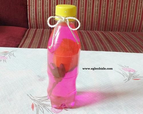 Pet Şişe ile Su İçinde Yüzen Çiçek Yapımı