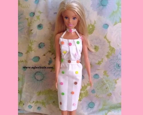 Barbie için Maskeden Elbise Yapımı